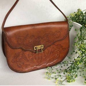 COPY - Vintage Leather Hand Tooled Handbag
